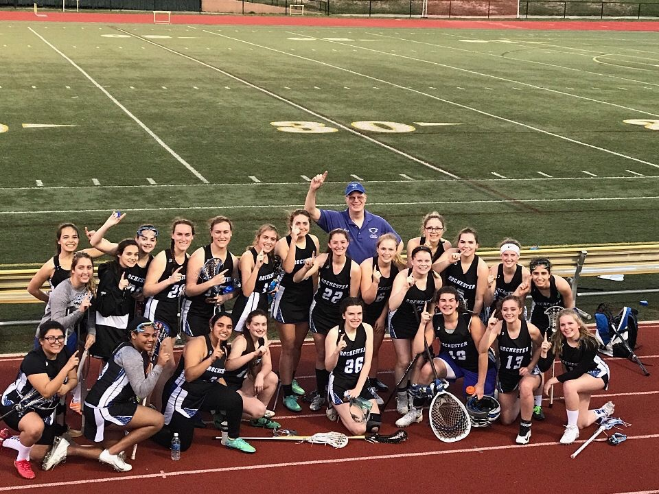 The+Rochester+Varsity+Girl%27s+Lacrosse+team+after+beating+Adams+8-7.
