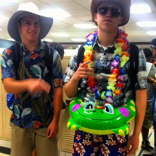 Seniors dressed for Tropical Day