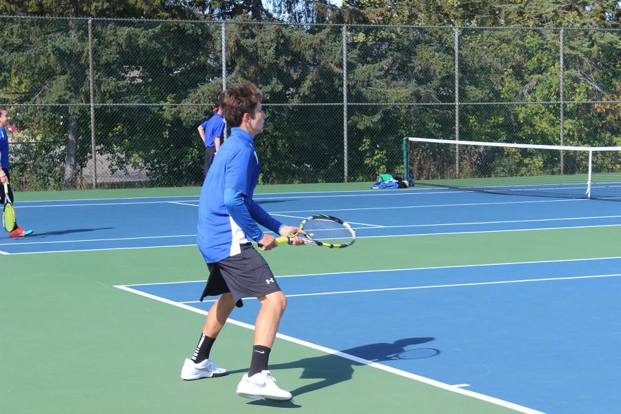 Sophomore Chris Sandler playing a singles match at Leagues, hosted at Rochester High School on Thursday  September 29th.