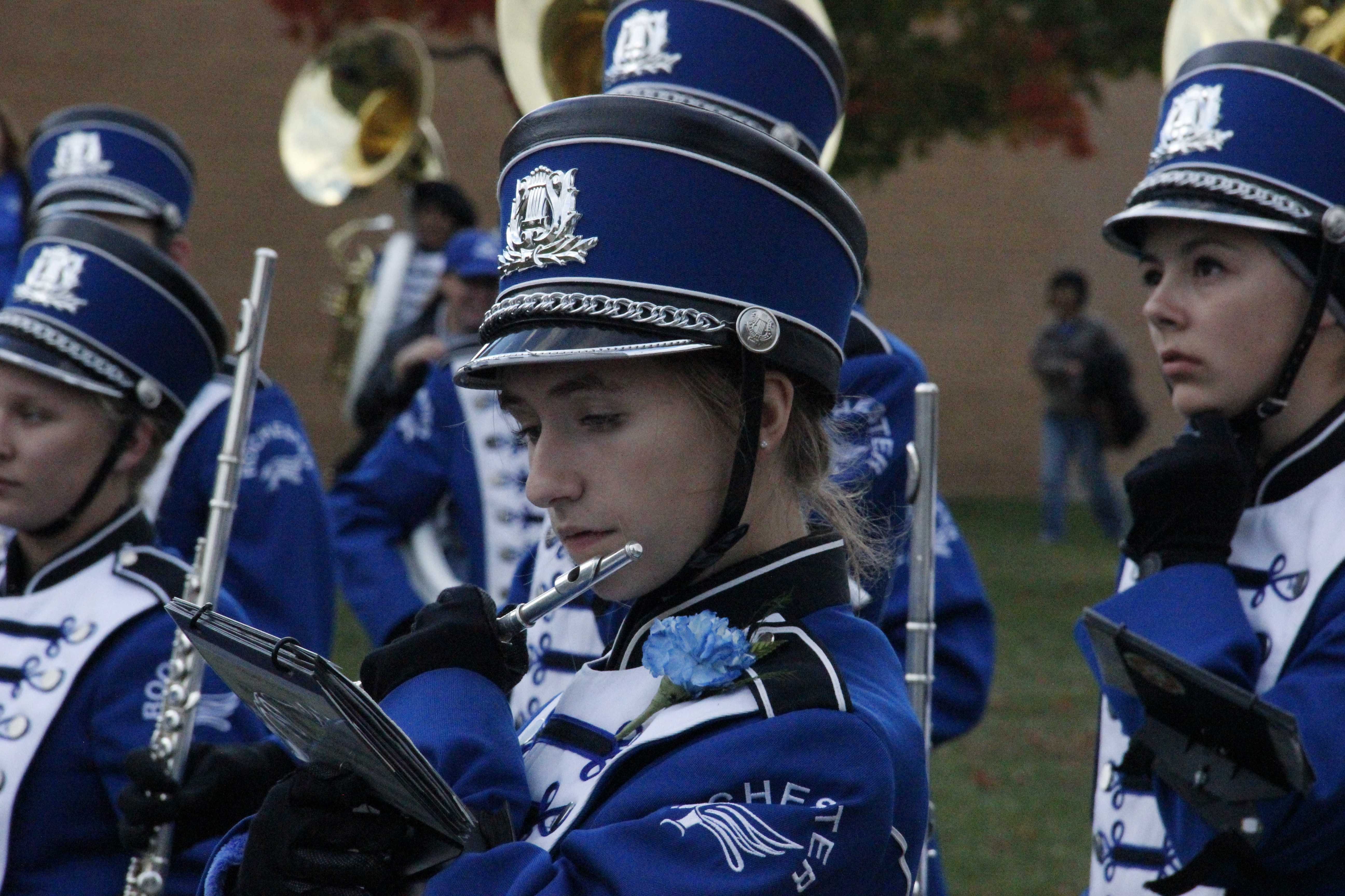 Senior Rachel Butala plays the flute in the Falcon Marching Band.