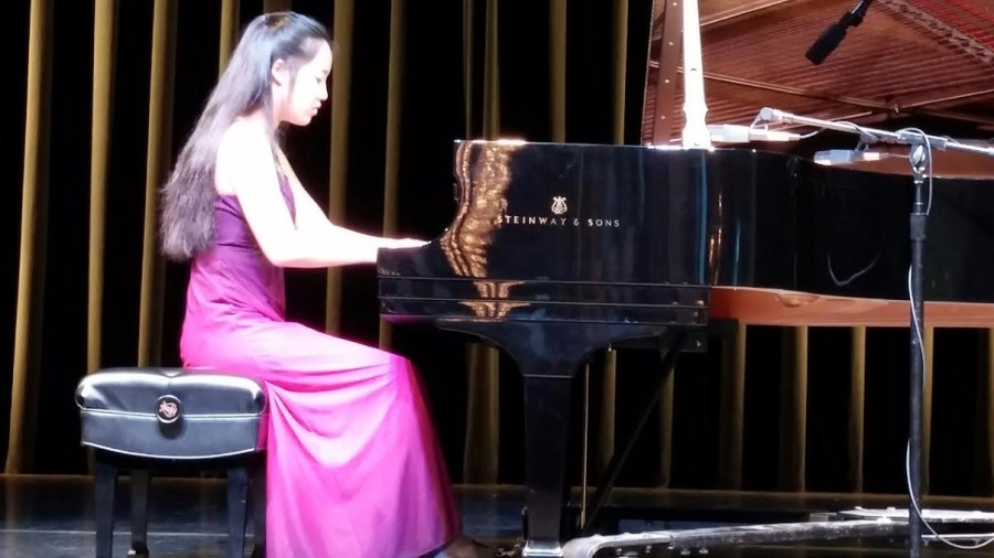 Katherine Lee plays the piano on the Kennedy Center Millennium Stage.