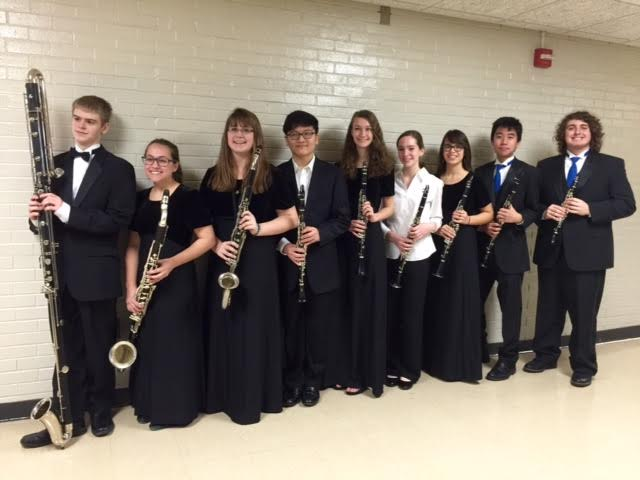 The RHS Clarinet Choir, led by Junior Cameron Page, received a one for their performance at Solo and Ensemble. From left to right: Steven Salkowski, Liz Desment, Lauren Jakobiak, Taehoon Song, Meredith Benson, Rachel Rettie, Mala Oehlberg, Kengo Takenouchi, and Cameron Page.