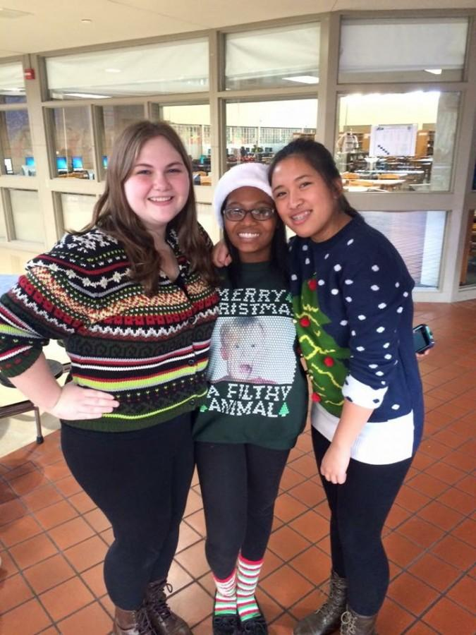 Members of the Junior class congress,[from left to right] Carly Craig, Zippy Tiller and Ninotchka Valdez  dressed up to celebrate the season. Photo courtesy of Carly Craig.