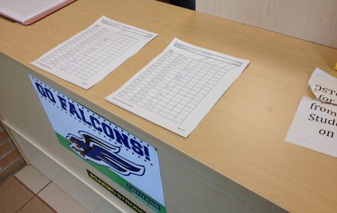 Students sign in at the security desk when the come in after a hybrid hour.