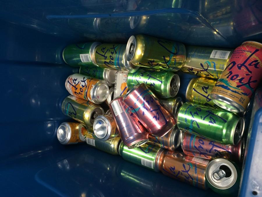 La Criox cans are found in recycling boxes all around the school. Photo courtesy of Julia Satterthwaite.