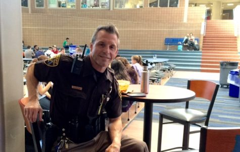 Deputy Curtis poses while on duty in the lunchroom.