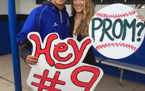 Senior, Meghan Godell asking junior, Ryan Gladstone to prom at his baseball game.