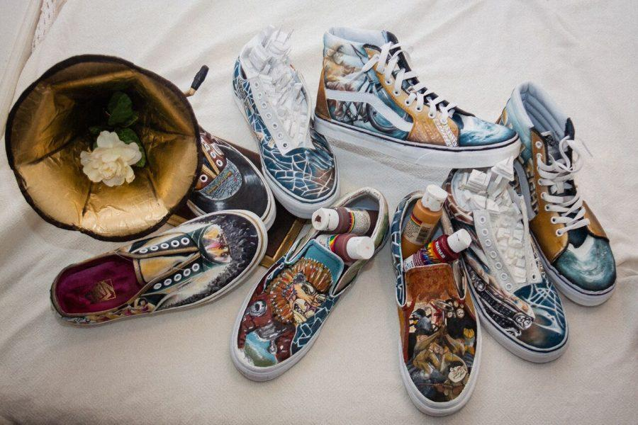 art students have worked to paint four pairs of vans shoes, in four different varieties, to be sent in and judged.