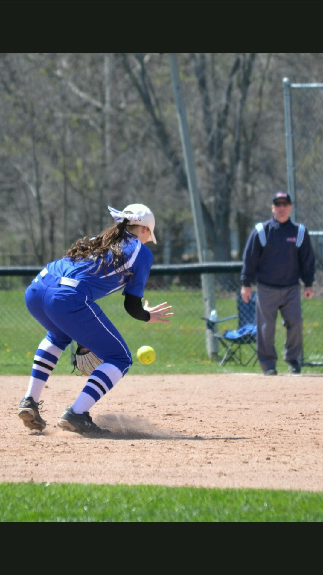 Myers pictured here catching a ball in the outfield. Photo courtesy of Rose Myers.