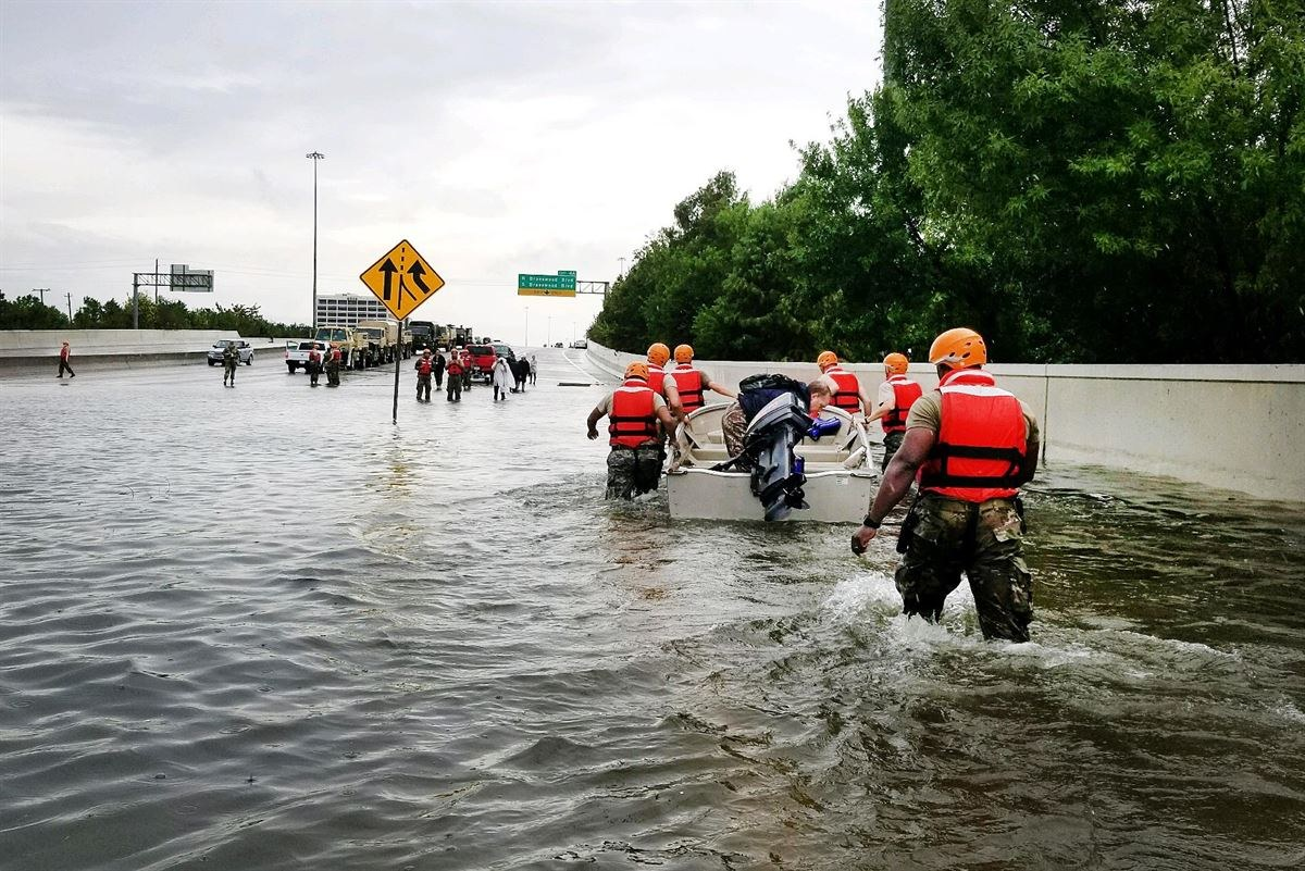 The Texas National Guard helps Houston residents affected by Hurricane Harvey. Photo courtesy of Creative Commons.
