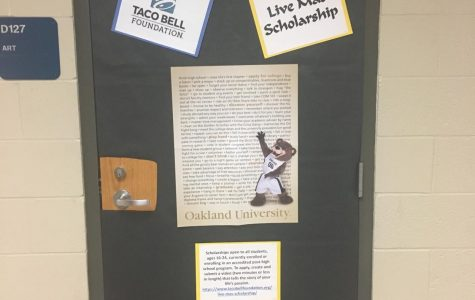 One of the scholarship opportunities on a classroom door. Photo by Zoe Sawdon.