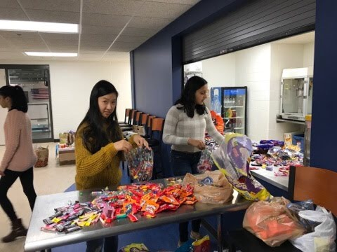 Sorting the candy before it is bagged.