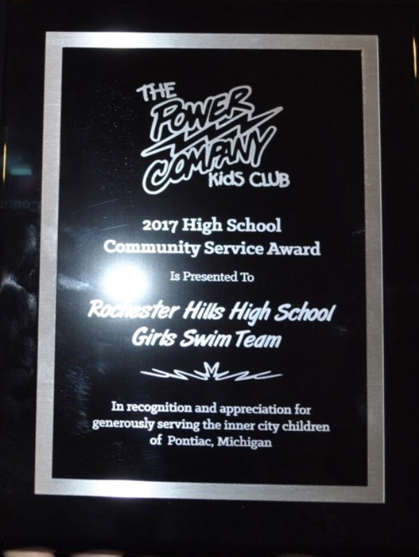 The award the swim team received for their hard work