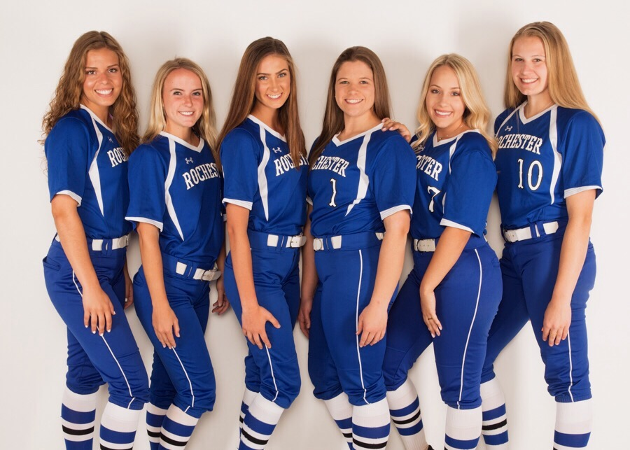 Senior members of the varsity softball team, who are preparing for their final two games of the year.