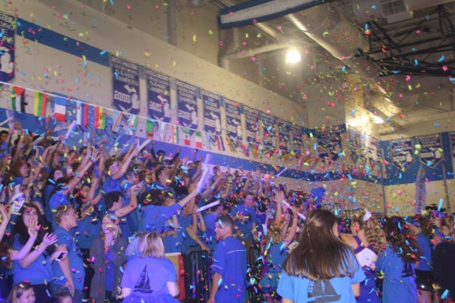 The senior section at last year's homecoming pep assembly gets fired up as they soak up every last second of RHS homecoming. Photo courtesy of Hope Laurencelle.