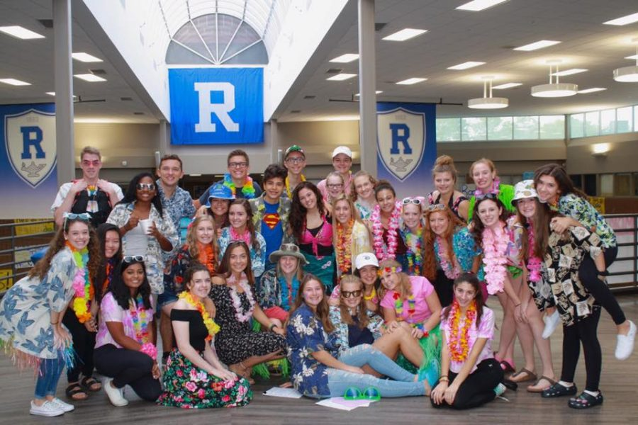 Last year's StuGo members are photographed above in their Tropical Day spirit day outfits.
