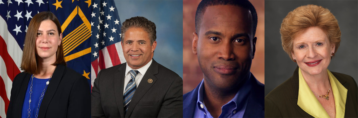Pictured left to right: Elissa Slotkin, Mike Bishop, John James, and Debbie Stabenow. Photos courtesy of Creative Commons