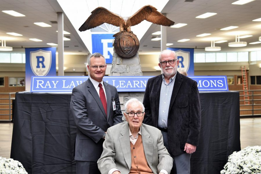 Mr. Lawson, Superintendent Dr. Robert Shaner, and retired RCS Superintendent Dr. John Schultz stand in front of the 250 pound, bronze statue. Photo courtesy of Elizabeth Russell.