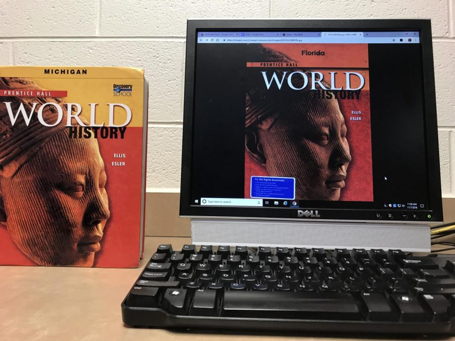 The 9th Grade World History textbook can be accessed online. Photo by Sanya Gupta.