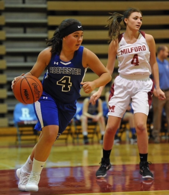 Senior Payton Johnson plays against Milford in a girls varsity basketball game during the 2017-2018 season. Photo courtesy of Payton Johnson.