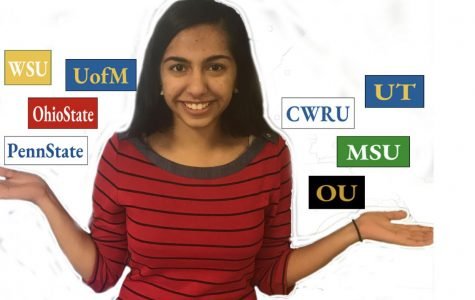 Shukla weighing her options for college. Photo taken by Mariam Hanna.