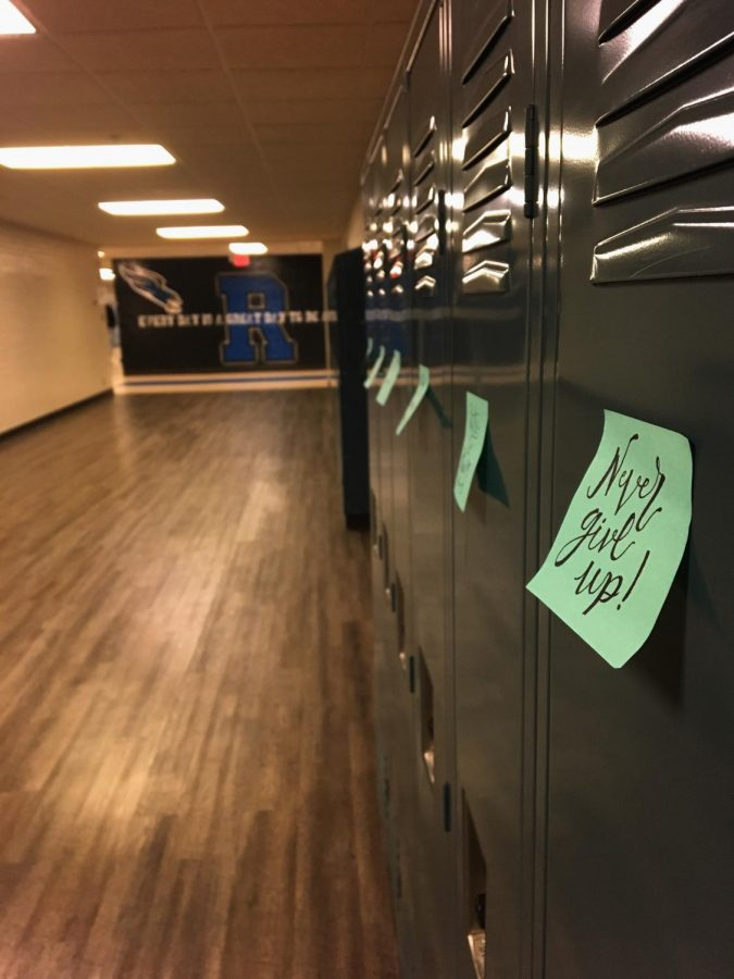 Encouraging notes posted on lockers at RHS. Photo by Holly McDonald.