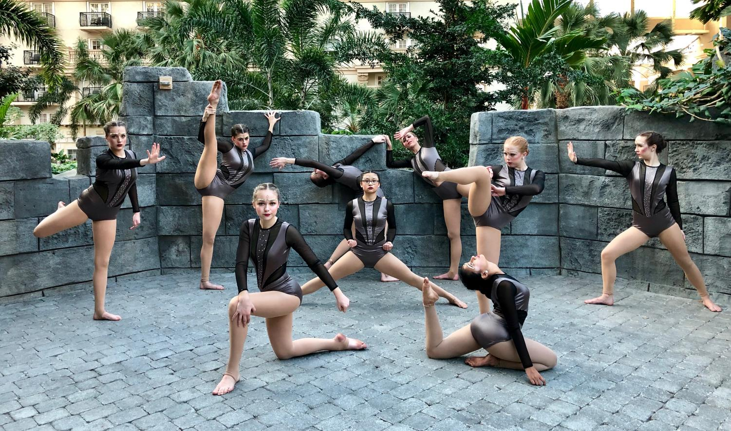 The RVDT is posing in their jazz costumes hours before performing at Nationals. Photo courtesy of Kaitlyn Arnold.
