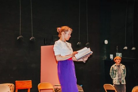 Senior Jane Bailey directs the  on-act play that she wrote.  Photo by Hope Laurencelle.