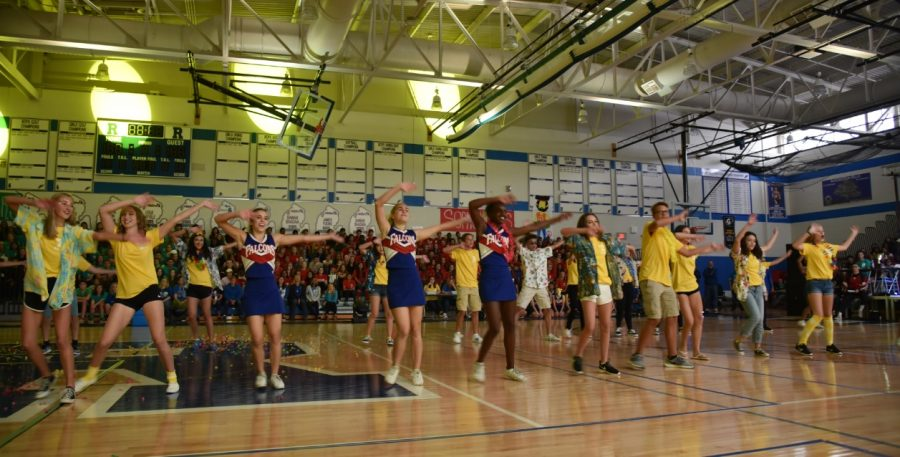 The+freshman+class+performs+their+lip+sync+dance+at+the+2018+Homecoming+Pep+Assembly.+Photo+courtesy+of+Ms.+Lizz+Russell.+