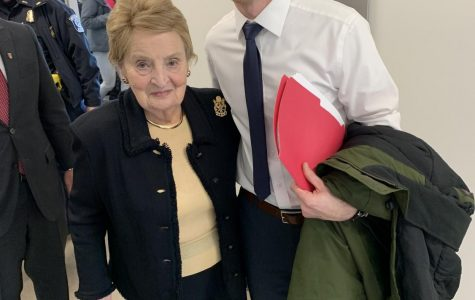 Former U.S. Secretary of State Madeleine Albright and Rochester High U.S. History teacher Chad Zwolinski.
