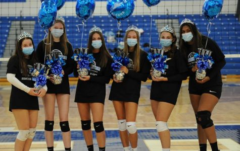 Pictured above are seniors on the RHS varsity volleyball team (from lefty to right: Riley Barber, Molly Rodgers, Megan Lorenzo, Hannah Crist, Nicole Miller, Ananya Rangarajan)